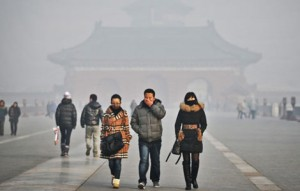 Beijing this past weekend as it suffers smog