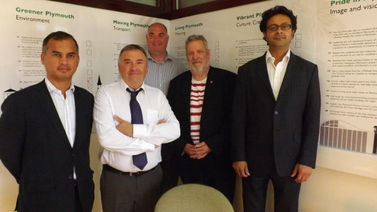 Colleagues Cllr Barrie Taylor & Cllr Nilavra Mukerji with our hosts for the day Cllr Tudor Evans & Cllr Chris  from Plymouth Council