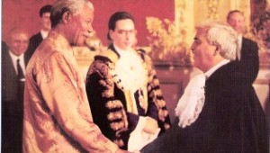 The late Cllr Mushtaq Qureshi meeting Nelson Mandela during his1996 state under the suspicious watch of Tory Cllrs visit