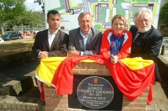Plaque put up in front of Lisson green Estate to acknowledge second home of Lords.